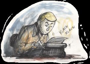 Karl an der Schreibmaschine